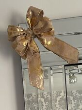 NEW 1 Luxury Gold Burlap Double Bow Christmas Tree Decorations, Garlands 14x19cm