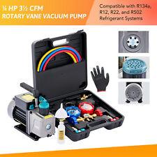 Omt 35cfm Hvac Vacuum Pump Amp Manifold Gauge Set For R22 R134a R12 R502 Ac Units