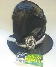 Halloween Costume Mens Satin Black Top Hat w/ Silver Skull Trim Band Mans Death