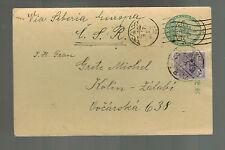 1933 Tokyo Japan Postcard Cover to Kolin Czechoslovakia  3