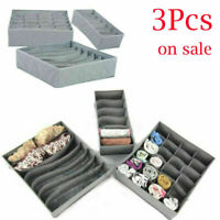 3Pcs Drawer Divider Closet Tidy Underwear Socks Container Storage Organizer Set