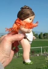 """Antique/vintage 7"""" bisque doll, painted face, tight glue brown hair"""