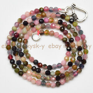 3mm Faceted Natural Multi-Color Tourmaline Round Gemstone Beads Necklace 16-30''