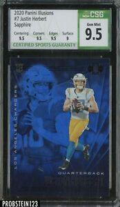 2020 Panini Illusions Sapphire #7 Justin Herbert Chargers RC Rookie CSG 9.5