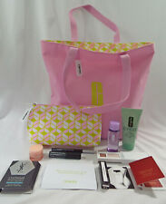 Clinique 11 Piece Set Tote Cosmetic Bag Scrub Remover Eye Shadow Eye Cream