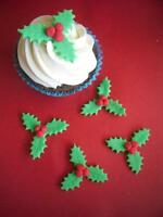 12 Handmade Edible Sugar paste HOLLY Cupcake Toppers - Christmas
