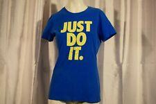 Nike Just Do It Womens Large Blue Yellow Short Sleeve Tshirt Slim Fit