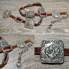 Vintage Brighton Women's Belt Brown Leather 1993 Silver Concho Chain Buckle