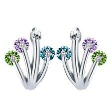 Fashion Women Jewelry 925 Silver Emerald Amethyst&Sapphire Stud Hoop Earring New