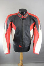 CORNER RACING/SPORTS BLACK, RED & WHITE LEATHER BIKER JACKET + CE ARMOUR 44 INCH