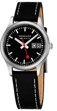 Mondaine Women's Sport Dial Black Leather Strap Quartz Date Watch A6693031114SBB