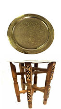 """Moroccan Arabesque Engraved Carved Polished Brass Tray 13 """" Ø"""