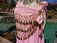 Bellydance hip scarf pink gold 3 row noisy sheer