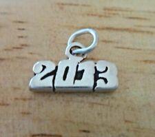 Sterling Silver 8x13mm Horizontal Graduation Birth Anniversary Year 2013 Charm