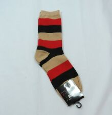 Womens wide Rugby Stripes Crew Socks Red Tan Black Tan Trim Size 9-11 Z