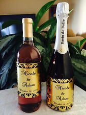 12 GOLD FOIL DAMASK Themed Champagne or Wine Bottle labels/stickers/wrappers
