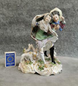 Porzellangruppe Wien oder nach Wien Das Unwetter Galantes Paar 20 cm Figur