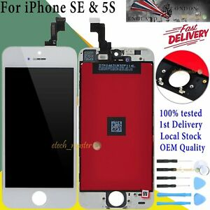 For iPhone SE 5S LCD Touch Screen White Digitizer Assembly Frame Replacement UK