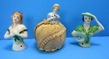 Antique China Porcelain Lot of 3 Half Dolls ~ One is Pin Cushion ~ Japan