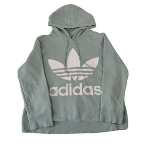 Adidas Pastel Green Pullover Hoodie Front Center Logo Print - Womens Size 18