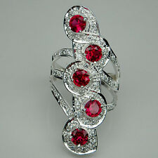 AWESOME! RED RUBY 5MM. 5 PCS. & WHITE SAPPHIRE STERLING 925 SILVER RING SIZE 8.5