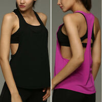 Women Sports Vest Fitness Exercise Gym Yoga Tank Singlet Loose Tops Workout USA*