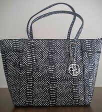 NWT Guess Delaney Classic Tote Handbag Embossed Black White MSRP $130
