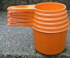 Vintage Tupperware Orange 5 Piece Measuring Cup Set 1, 3/4, 2/3, 1/2, & 1/3 Cups