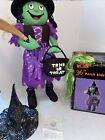 Halloween Witch Porch Kid Greeter Prop 3' Display NEEDS REPAIR Green