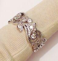alliance dentelle argent rhodié style joaillerie solitaire cristaux diamant T.51