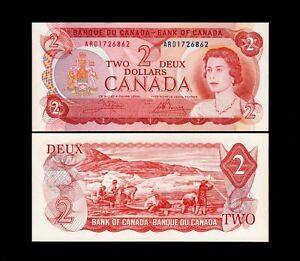 1 Pcs Bank of Canada 1974 $2  GEM UNC #101