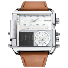 JSDDE Men's Brown Square Digital Electronic Genuine Leather Band 3ATM Waterproof