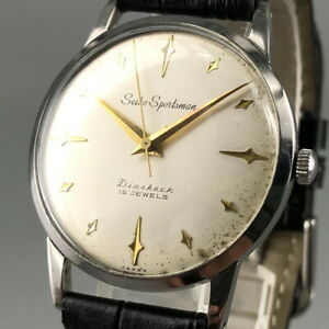 OH serviced, Vintage 1960 Seiko Sportsman Rare Dial Hand-winding Watch Japan#528
