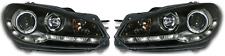 For VW Golf Mk6 09+ Black LED DRL Projector Headlights Lighting Lamp Spare Part
