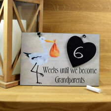 Weeks Until We Become Grandparents New Baby Countdown Chalkboard Plaque 682