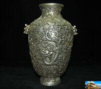 "Marked China ""乾隆年製"" Tibetan silver beast head Dragon Zun Cup Bottle Pot Vase Jar"