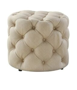 Upholstered Tufted Allover Round Ottoman