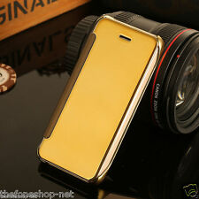 LUXURY GLASS FLIP VIEW COVER CASE FOR APPLE IPHONE 6 6S - GOLD COLOR