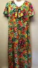 VTG Womens L/XL Hawaiian Dress Custom Made? Floral Bright Mod Hippie Maxi Long