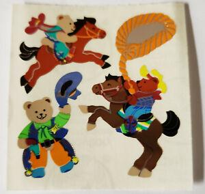 Sandylion Shiny Teddy Bear Cowboys Horse Scrapbooking Stickers F00 VNTG Retired