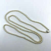 "GEORGEOUS Vintage BETTER Two Strand 1950's Faux PEARL Beaded 50"" Necklace JAPAN"