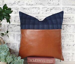 Horizontal cognac faux leather-denim plaid fabric pillow cover-1QTY