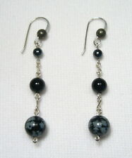 Lyns Jewelry Obsidian, Onyx, Hematite and Pyrite Drop Earrings Silver