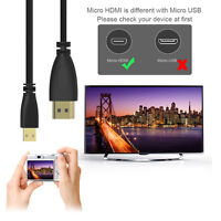 Micro HDMI Male to HDMI Male Cable Lead Cord Wire 1080p Spring Coiled Adapter