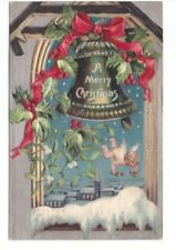A Merry Christmas, Baby Angel, Holly, Bell, Vintage 1907 Embossed Postcard