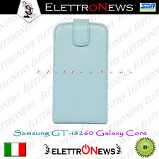 Custodia Cover Samsung GT i8260 Galaxy Core apertura Flip celeste nuova