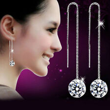 "US Seller..925 Silver..CZ Crystal..3.5"" Pull Through Threader Drop Earrings"