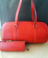 Louis Vuitton Red Epi Soufflot Handbag With Pouch In Excellent Condition