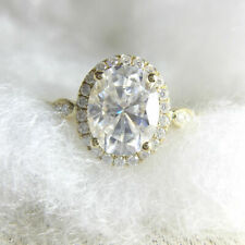 Engagement Ring Solid 14K Yellow Gold Certified 2.00 Ct Oval Cut Halo Moissanite