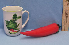 Shafford Red & Green Pepper Mug Cup & Glass Blown Large Red Pepper Lot of 2